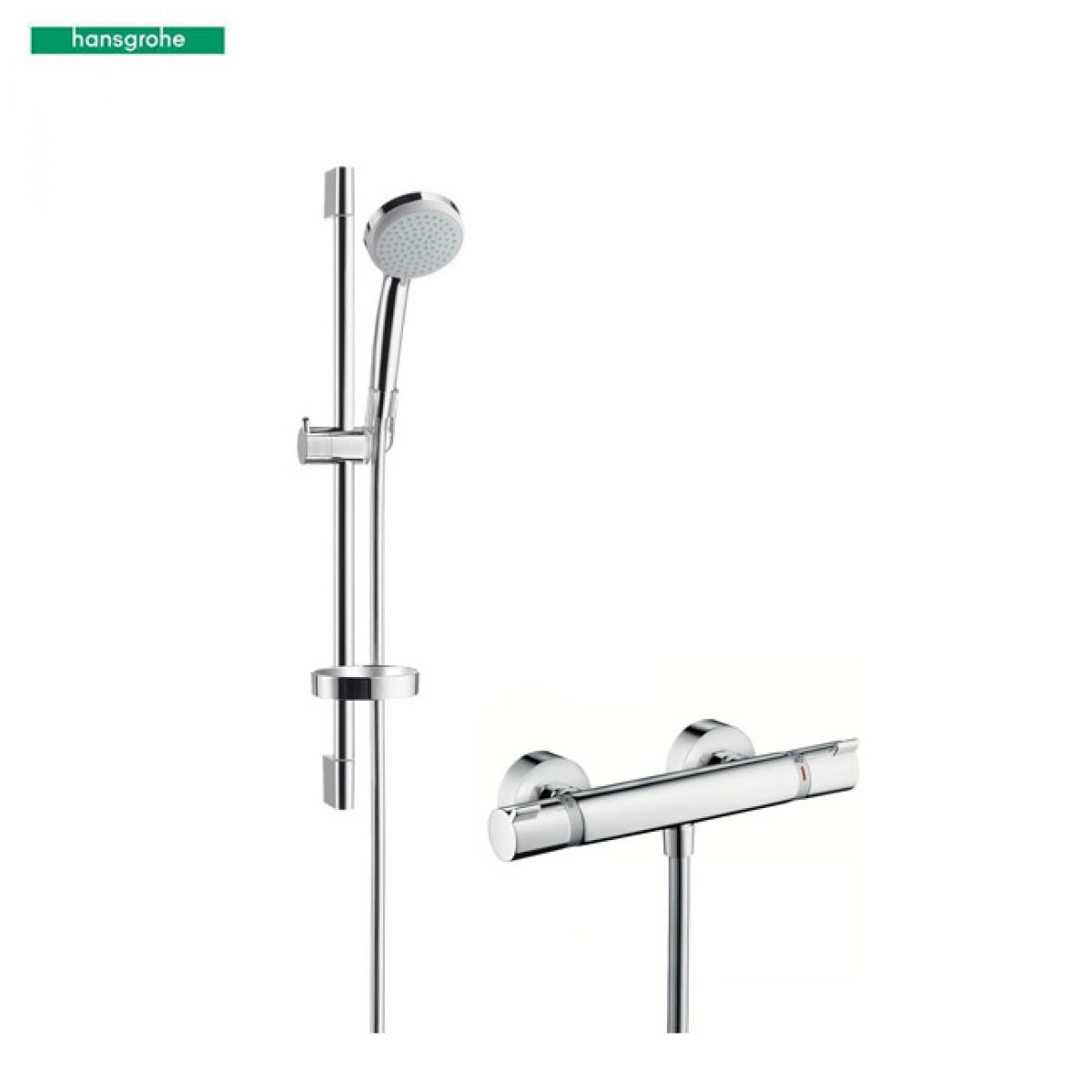 hansgrohe croma 100 vario ecostat comfort combi shower set uk bathrooms. Black Bedroom Furniture Sets. Home Design Ideas