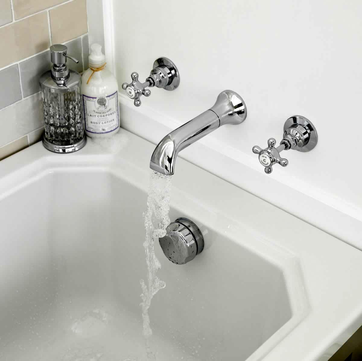 Old London Edwardian Wall Mounted Bath Spout and Taps : UK Bathrooms