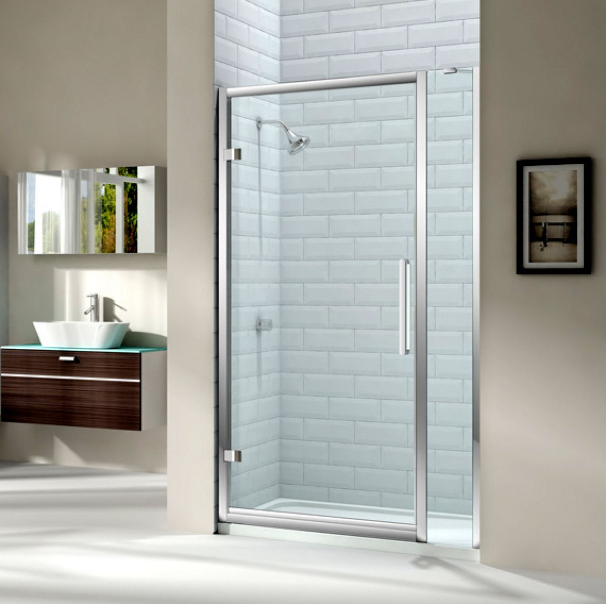 Merlyn series 8 hinged shower door and single inline panel for 1200 hinged shower door
