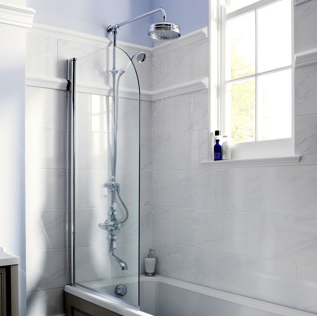 Old London Triple Exposed Shower Valve with Rigid Riser and Bath ...
