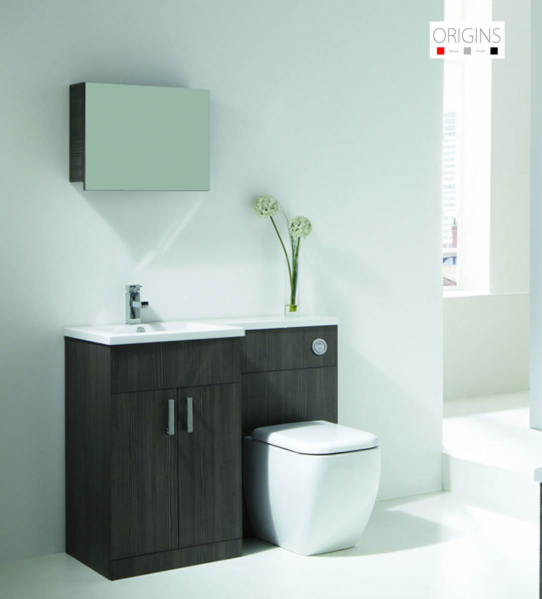 Origins Fusion Grey Oak Vanity Unit : UK Bathrooms