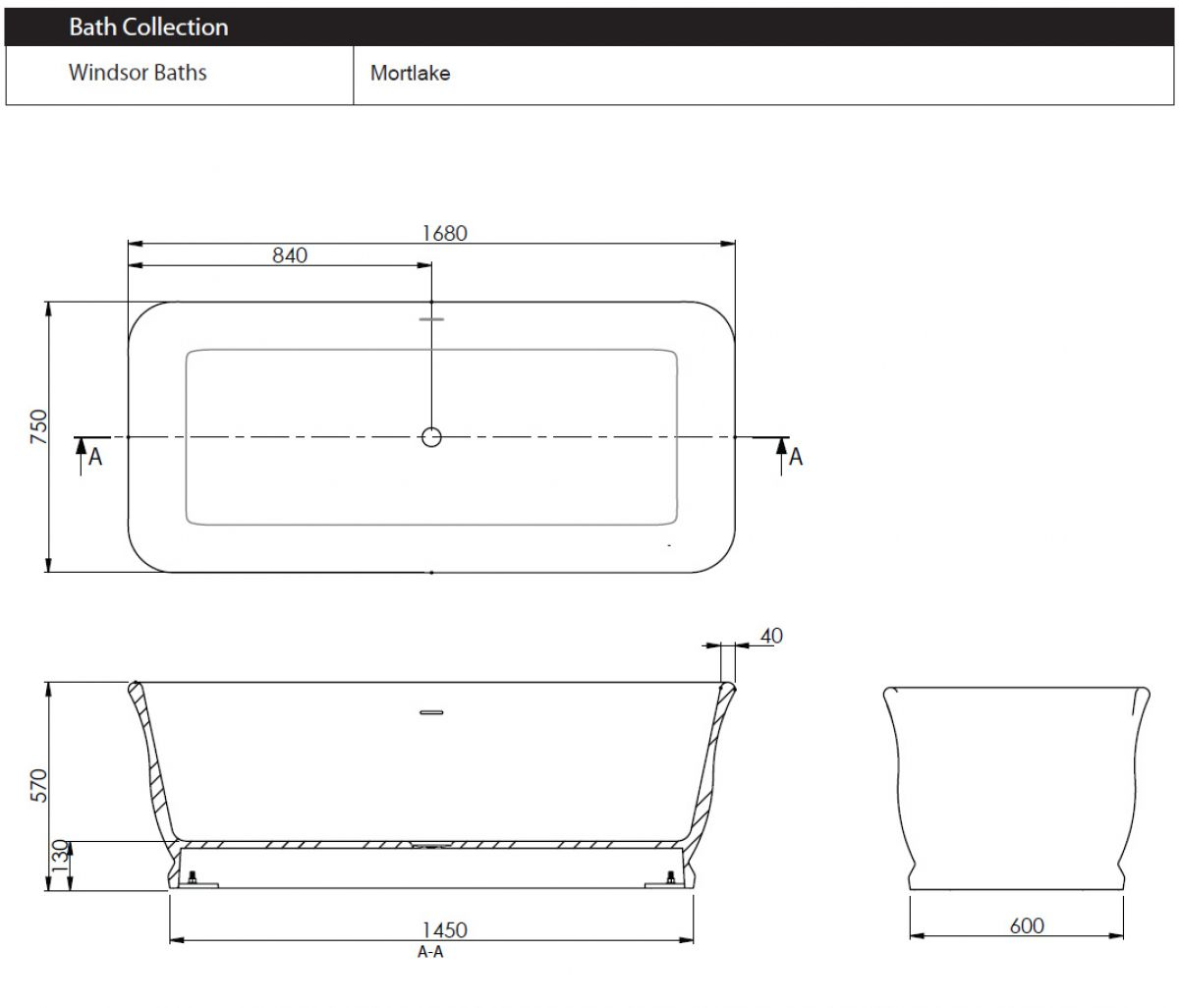 Imperial mortlake traditional freestanding bath uk bathrooms for Standard size of freestanding bathtub