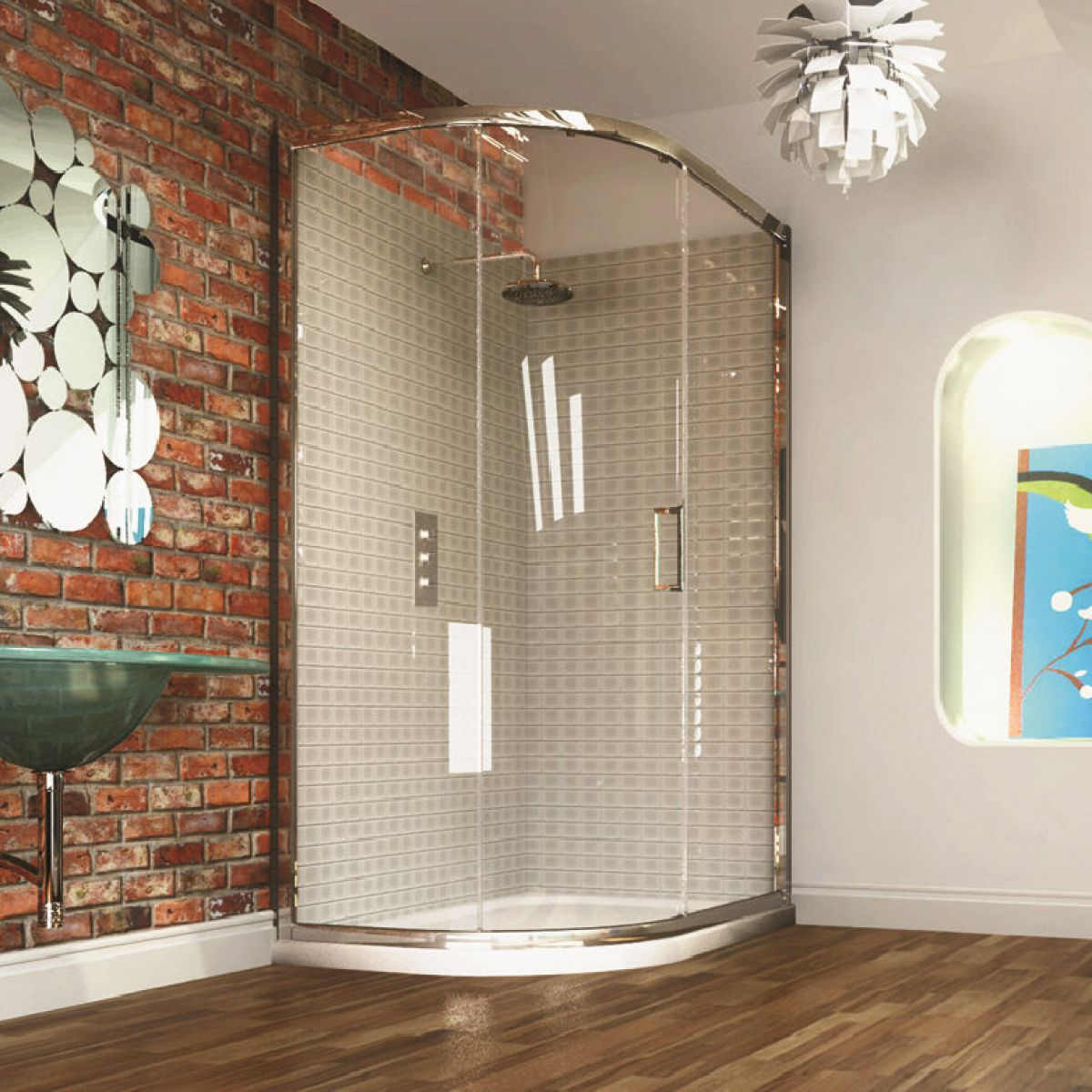 Merlyn Series 8 Single Door Offset Quadrant Shower