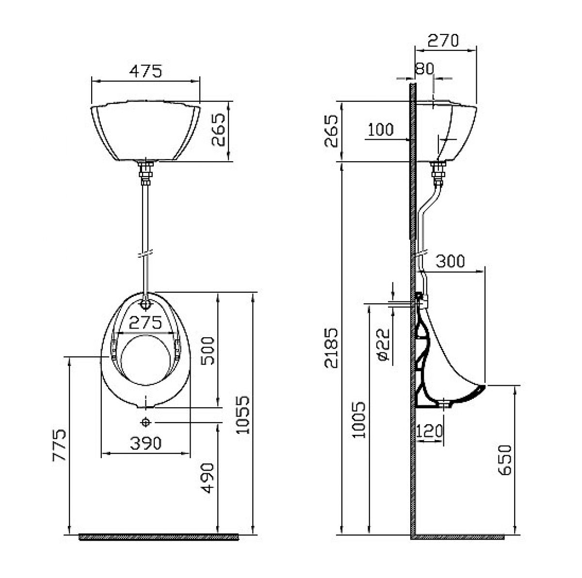 Vitra Arkitekt Urinal Cistern Pack