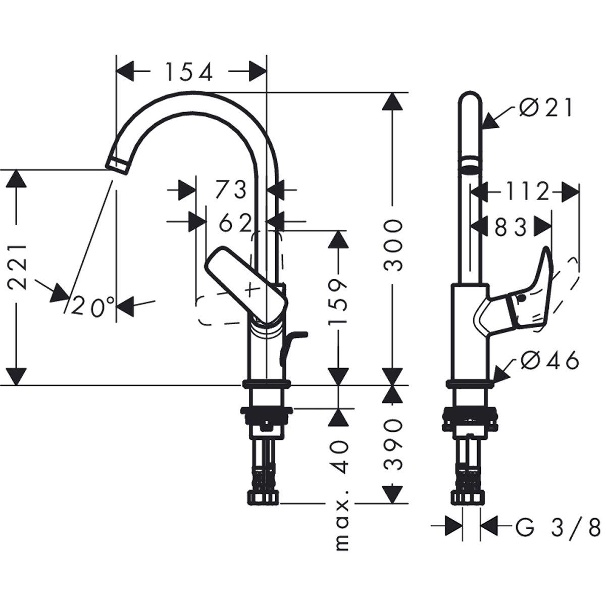Turbo Hansgrohe Logis Basin Mixer 210 : UK Bathrooms JC53