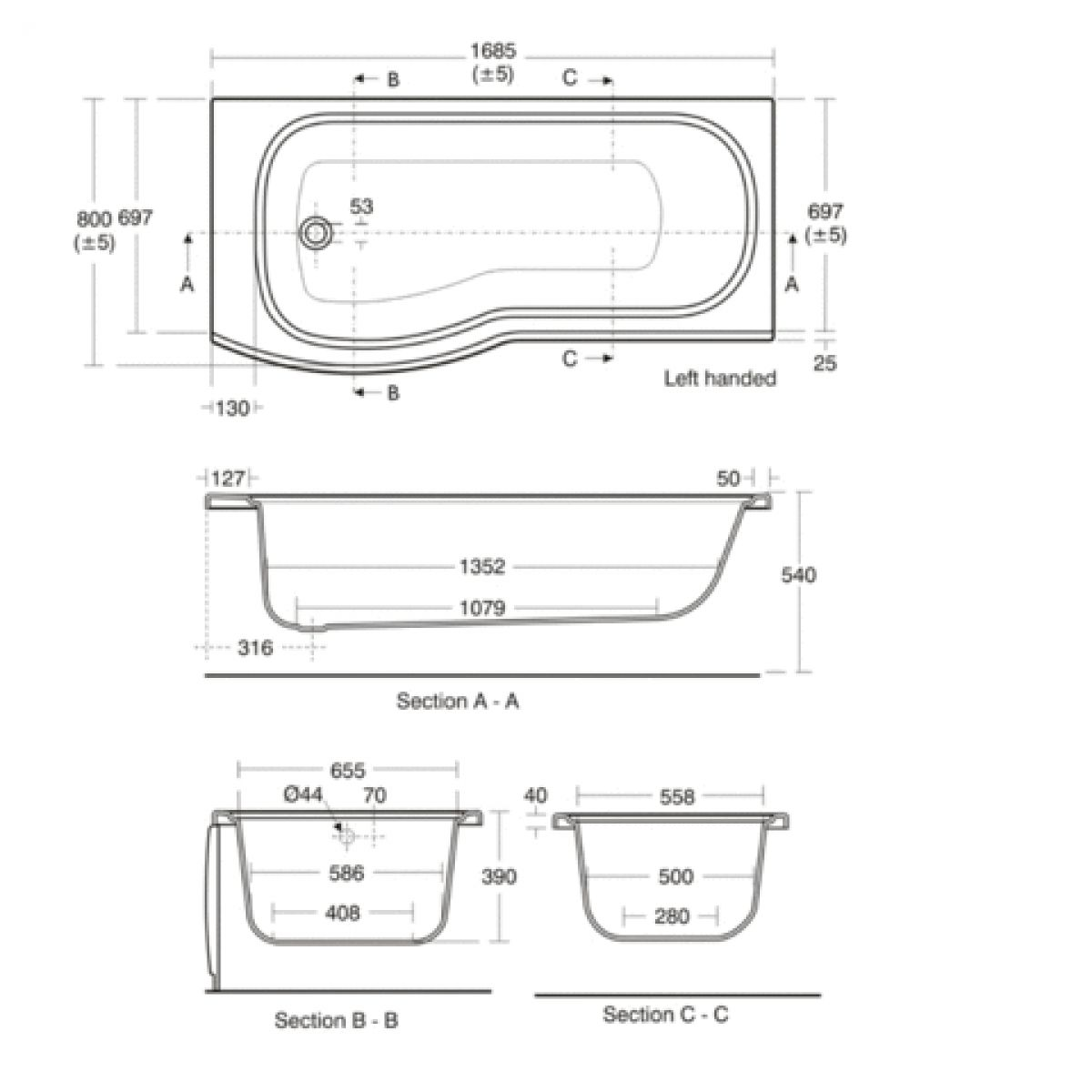 Standard bathtub size uk view tub u0026 shower trim kit for Normal bathtub size