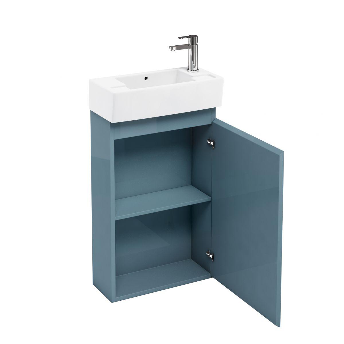 Britton narrow floorstanding unit and washbasin uk bathrooms for Narrow bathroom unit