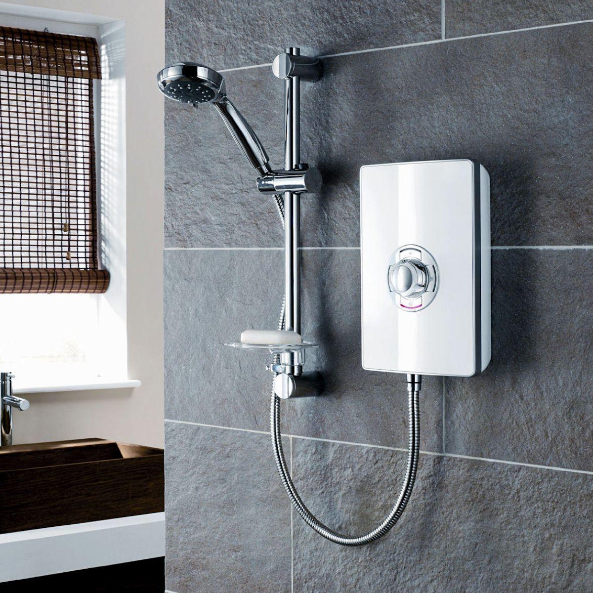 Triton aspirante electric shower white gloss uk bathrooms for Housse aspirante