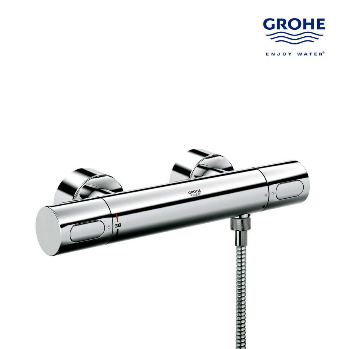 grohtherm 3000 cosmo thermostatic bath shower mixer with ecobutton