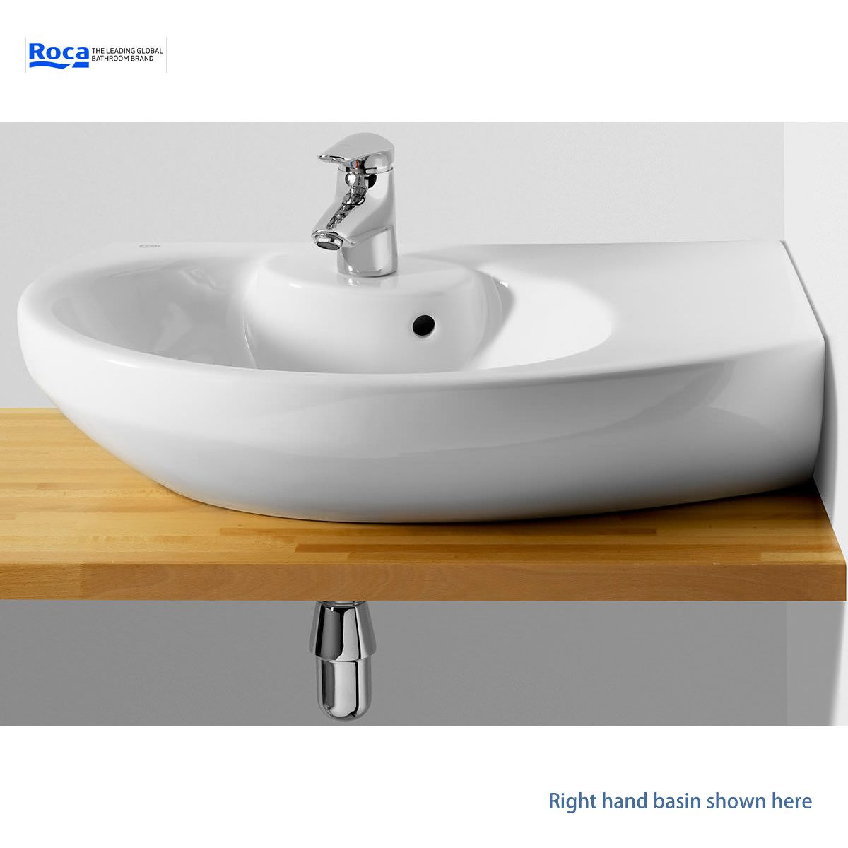 Roca Senso Compact 680mm Offset Corner Basin Uk Bathrooms