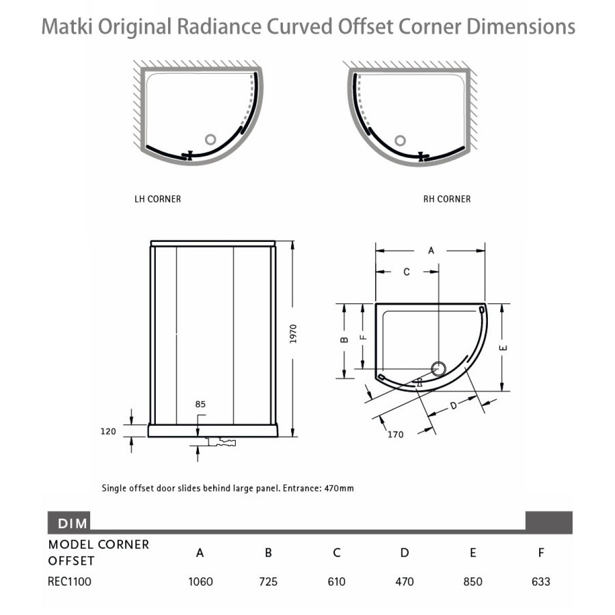 curved corner shower enclosure. matki original radiance curved offset corner shower enclosure