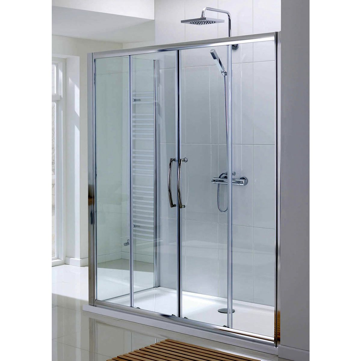 Lakes classic semi frameless double sliding shower door for Double sliding doors