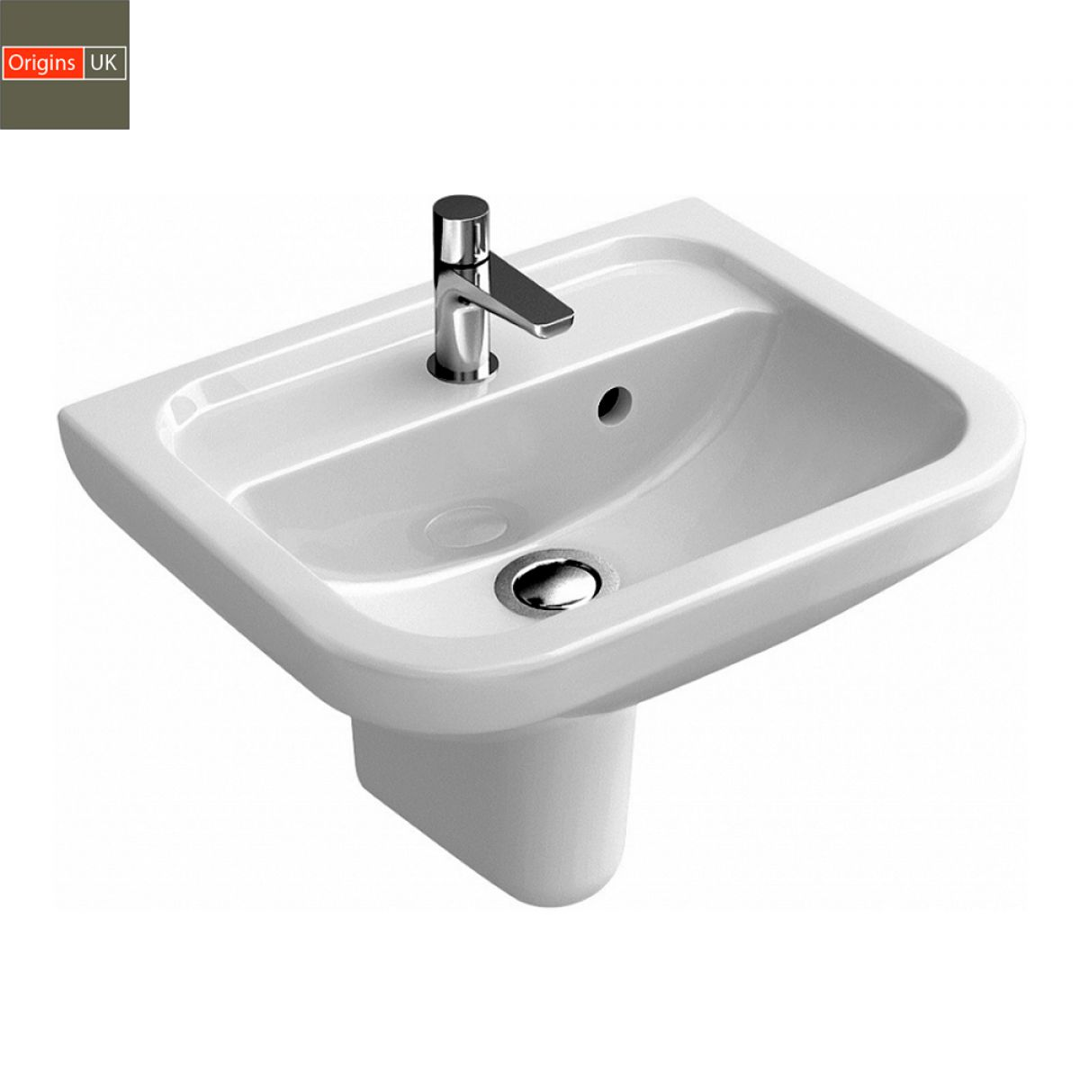 Origins Curve Compact Bathroom Basin - UK Bathrooms