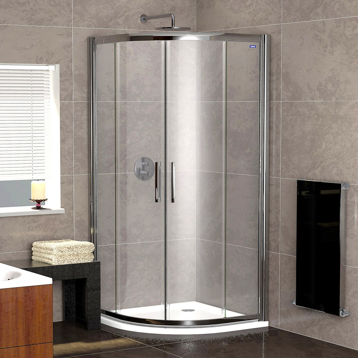 Showerlux legacy twin door quadrant shower enclosure uk for Door quadrant