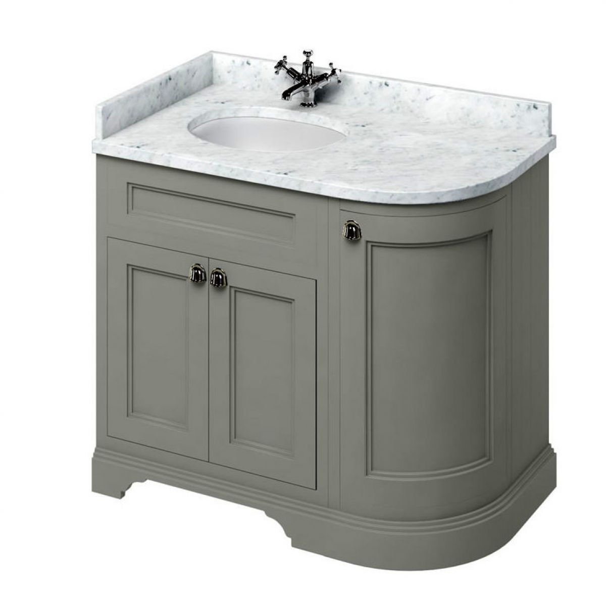 Curved vanity unit bathroom