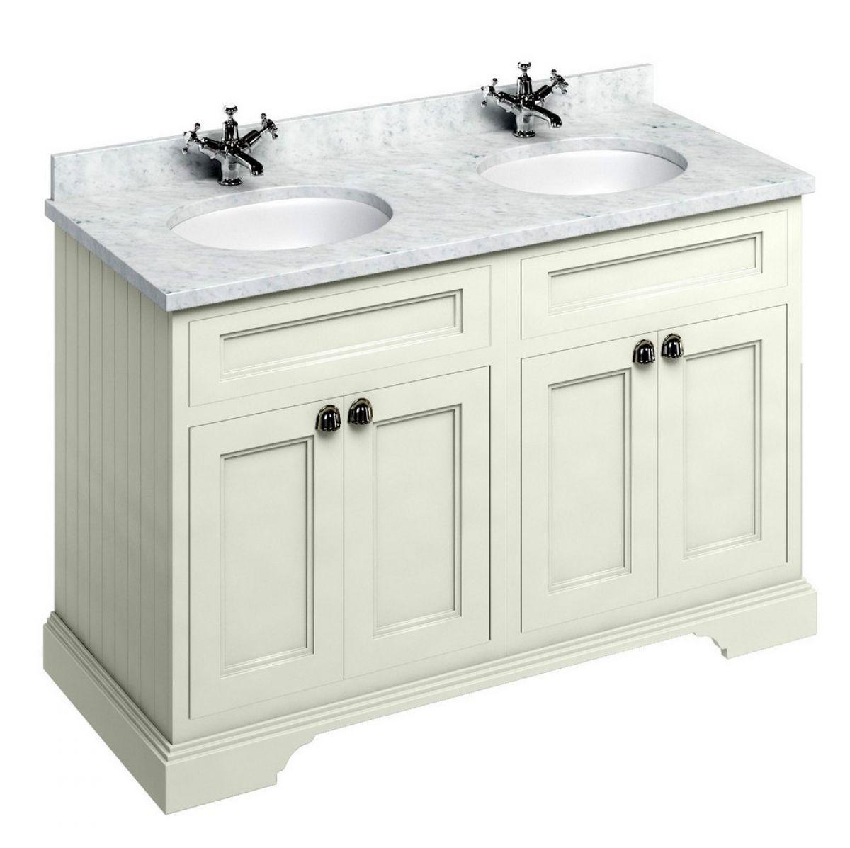 Bathroom sink and vanity unit -  Burlington 130 Twin Basin Vanity Unit With Four Doors