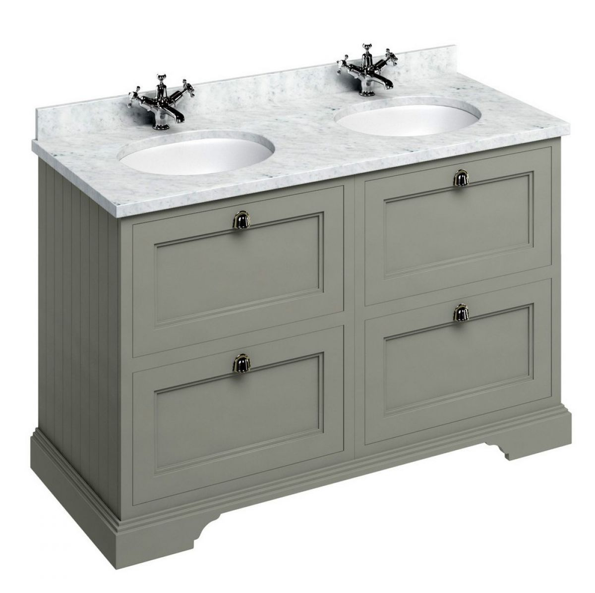 Burlington 130 Double Vanity Unit With Four Drawers UK Bathrooms
