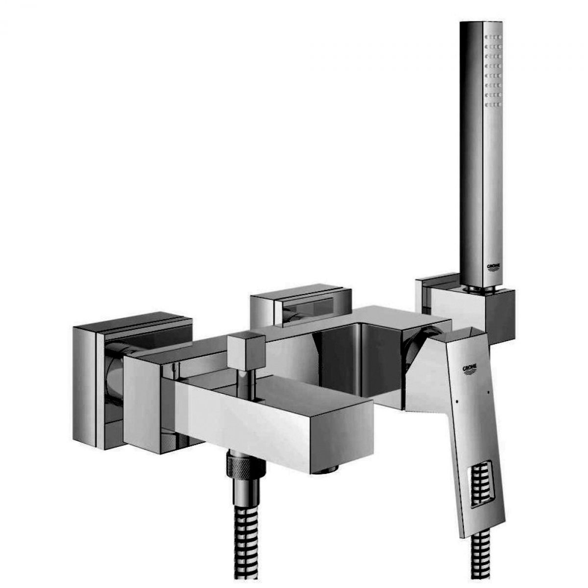 Grohe Eurocube Wall Mounted Bath/Shower Mixer : UK Bathrooms