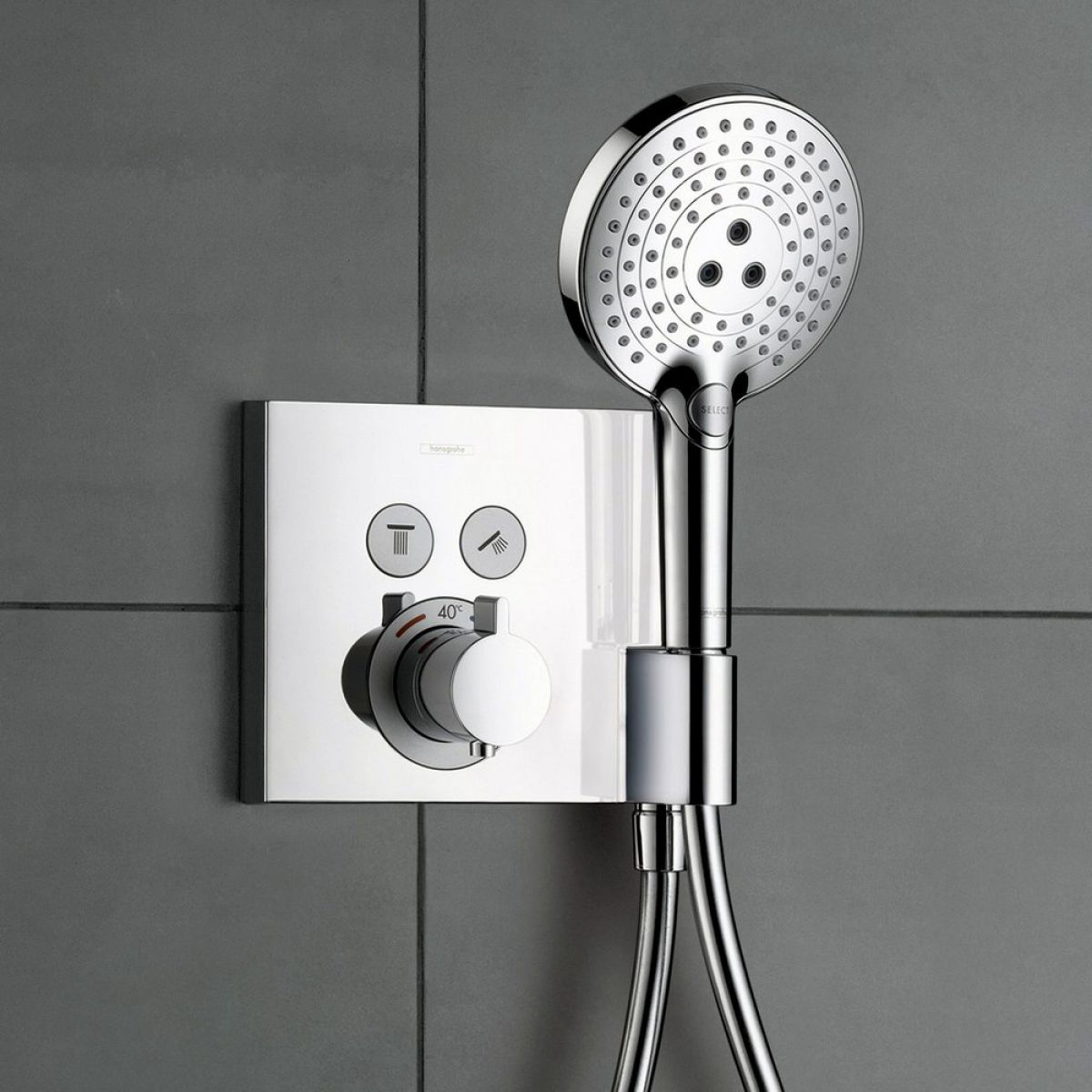 hansgrohe showerselect 2 outlet shower mixer with shower. Black Bedroom Furniture Sets. Home Design Ideas