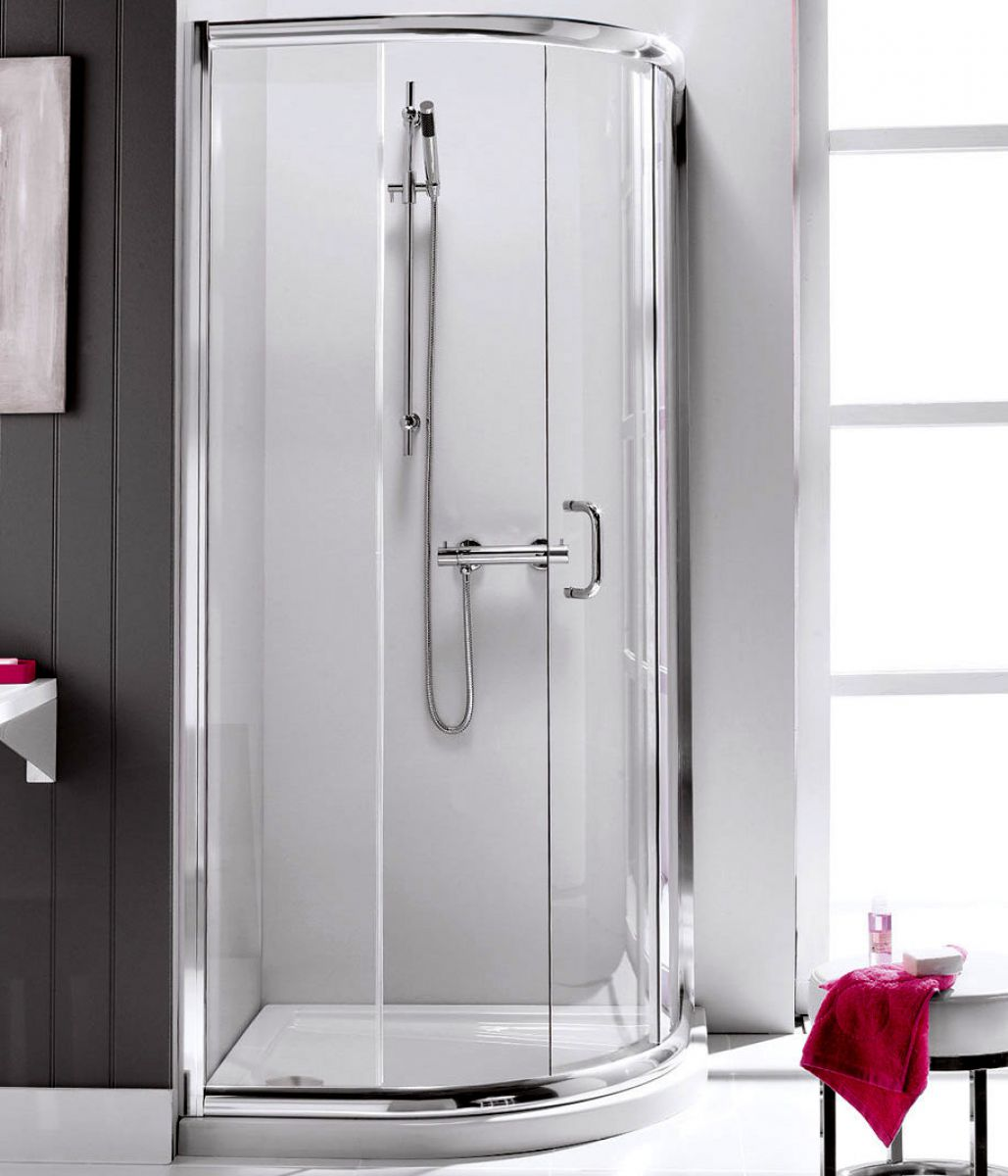 Single door quadrant shower enclosure april prestige for Door quadrant
