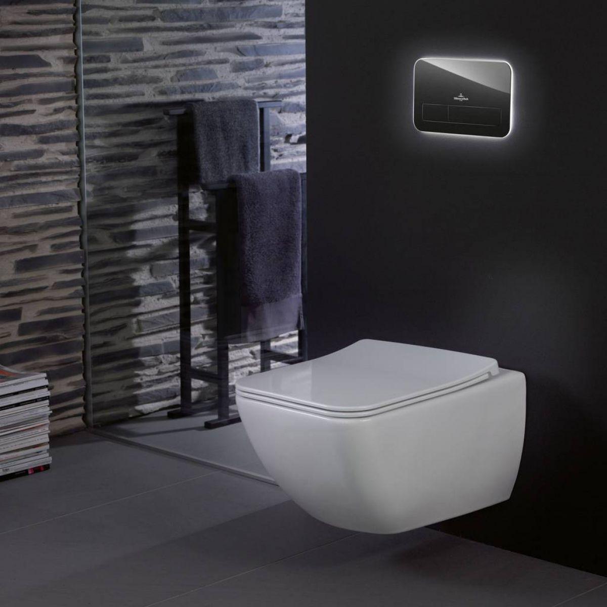 villeroy boch viconnect l200 glass flush plate with led lighting uk bathrooms. Black Bedroom Furniture Sets. Home Design Ideas
