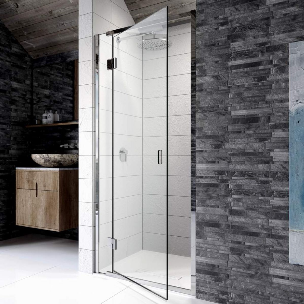 Kudos Pinnacle 8 Hinged Shower Door For Recess : UK Bathrooms
