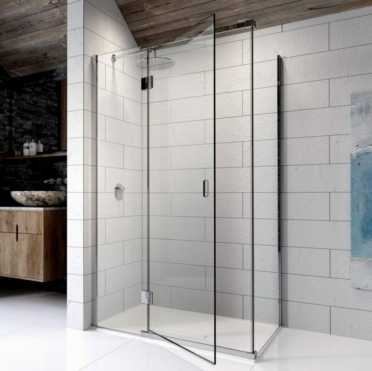 Kudos pinnacle 8 hinged shower door for corner uk bathrooms for 1200 door