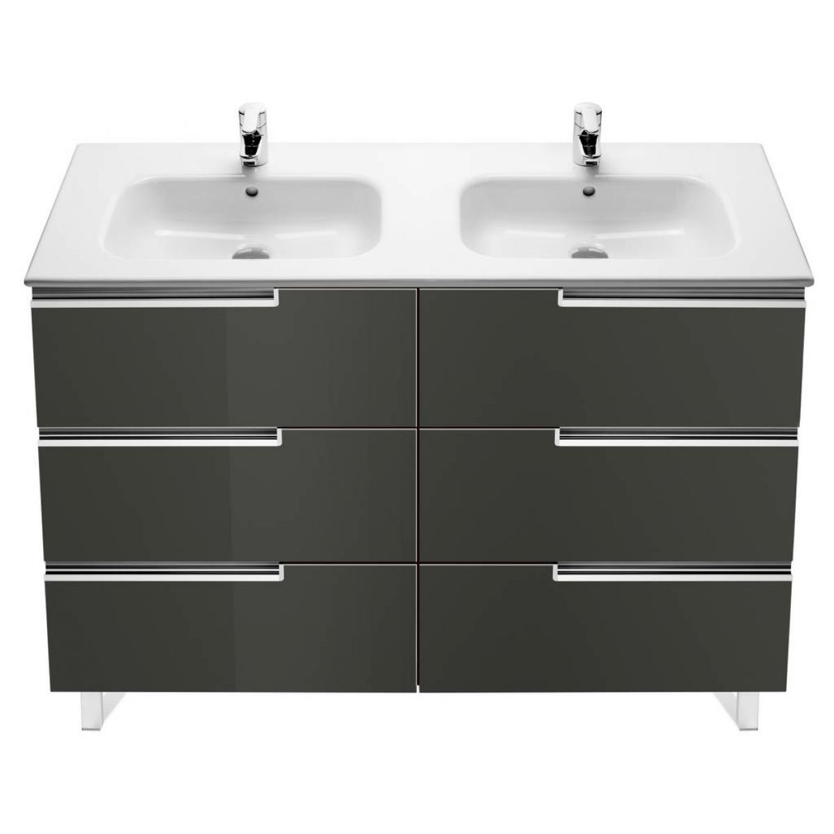 Roca victoria n 3 drawer double vanity unit uk bathrooms for Roca bathroom furniture