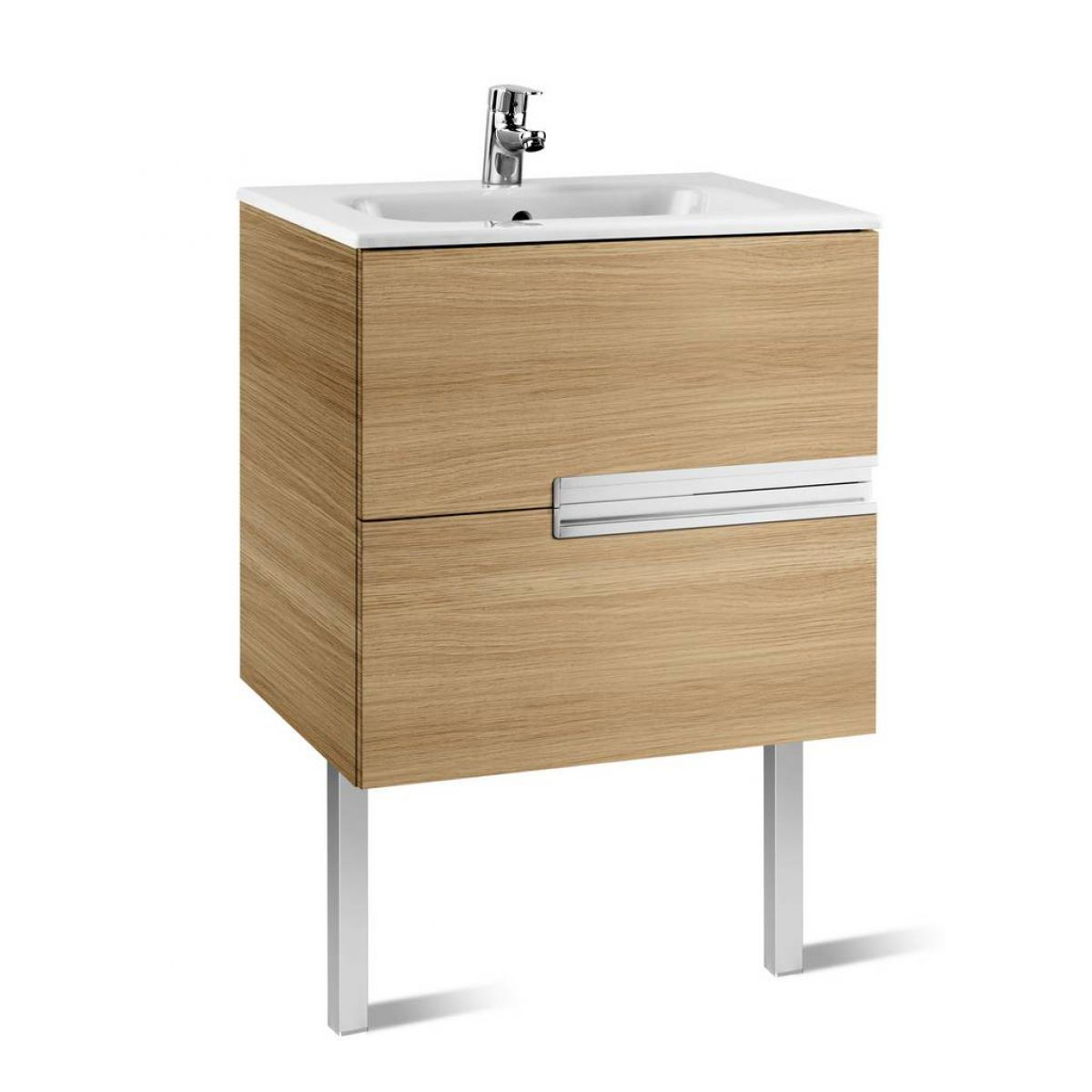 Minimalist gloss white vanity unit 600 800 or 1000mm - Roca Victoria N 2 Drawer Vanity Unit With Basin