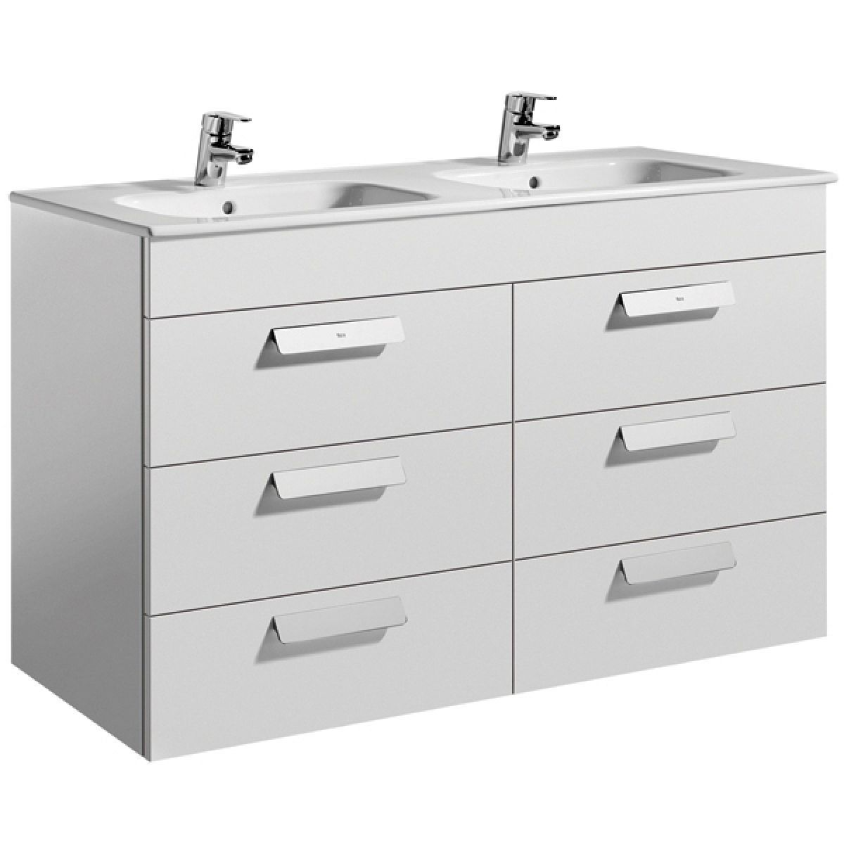 sink with vanity unit.  Roca Debba Double Basin Vanity Unit With Drawers UK Bathrooms