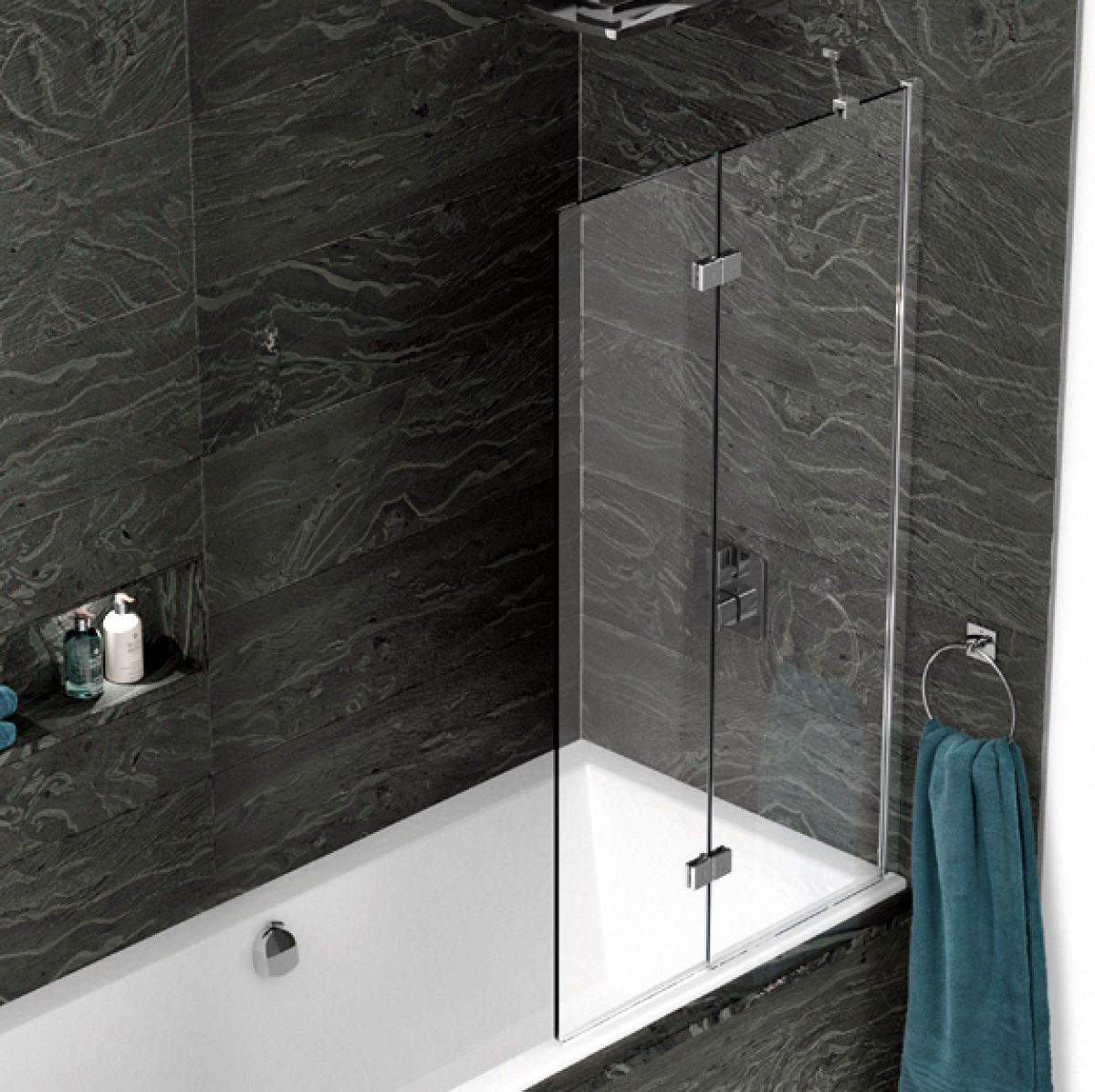 kudos inspire 2 panel in fold bath screen uk bathrooms. Black Bedroom Furniture Sets. Home Design Ideas