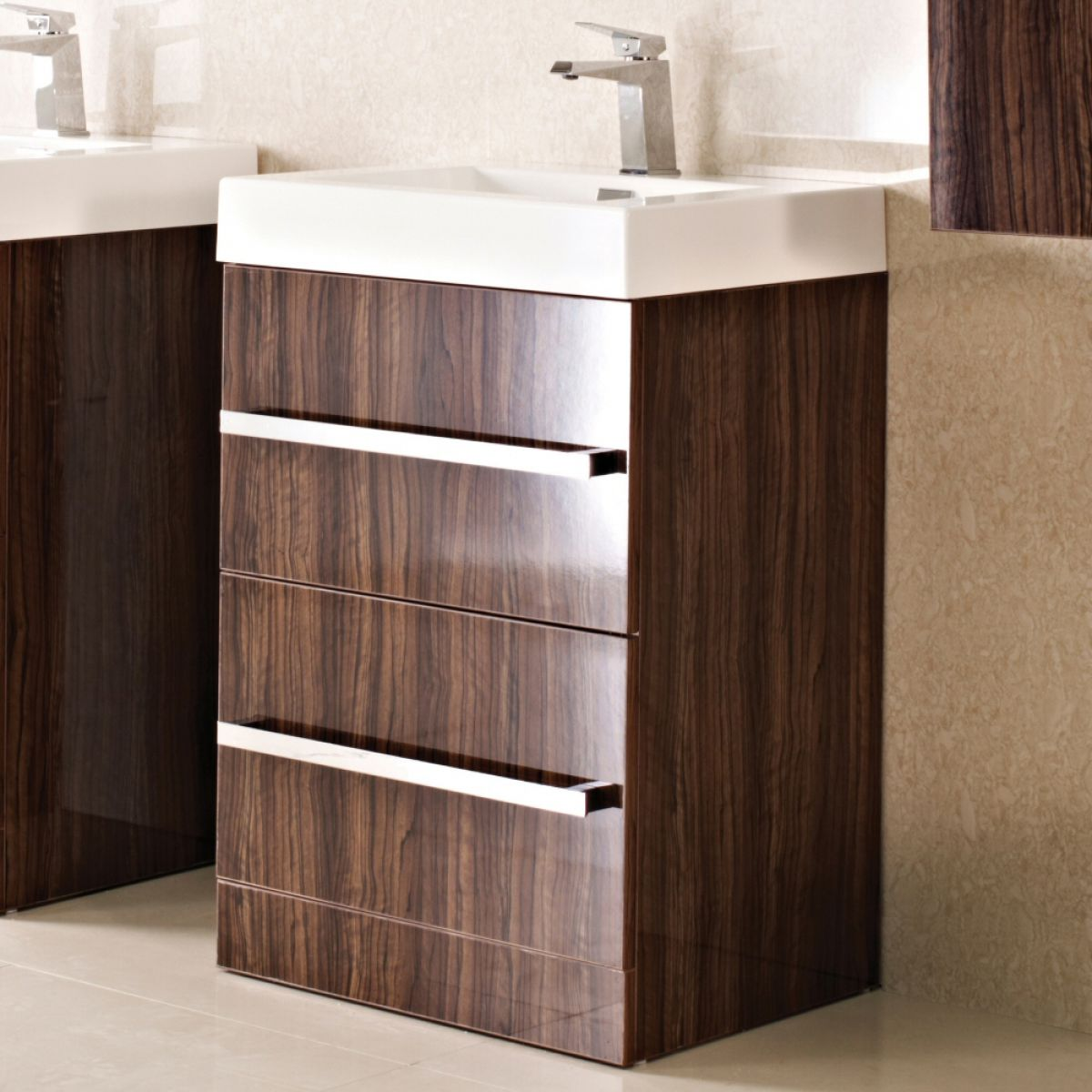 Phoenix vue floor standing vanity unit with basin uk for Floor standing bathroom furniture