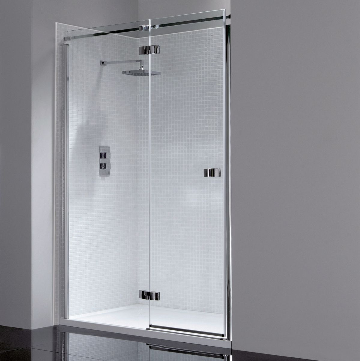 April Prestige Frameless Hinged Shower Door Uk Bathrooms