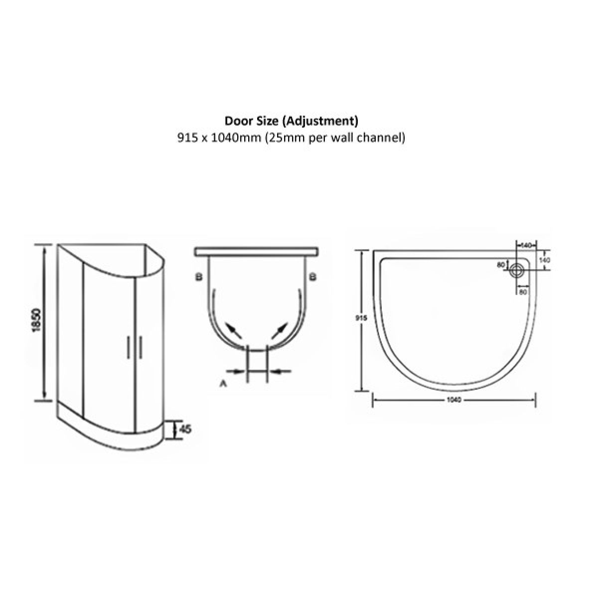 April Identiti2 U Shaped Quadrant Shower Enclosure : UK Bathrooms