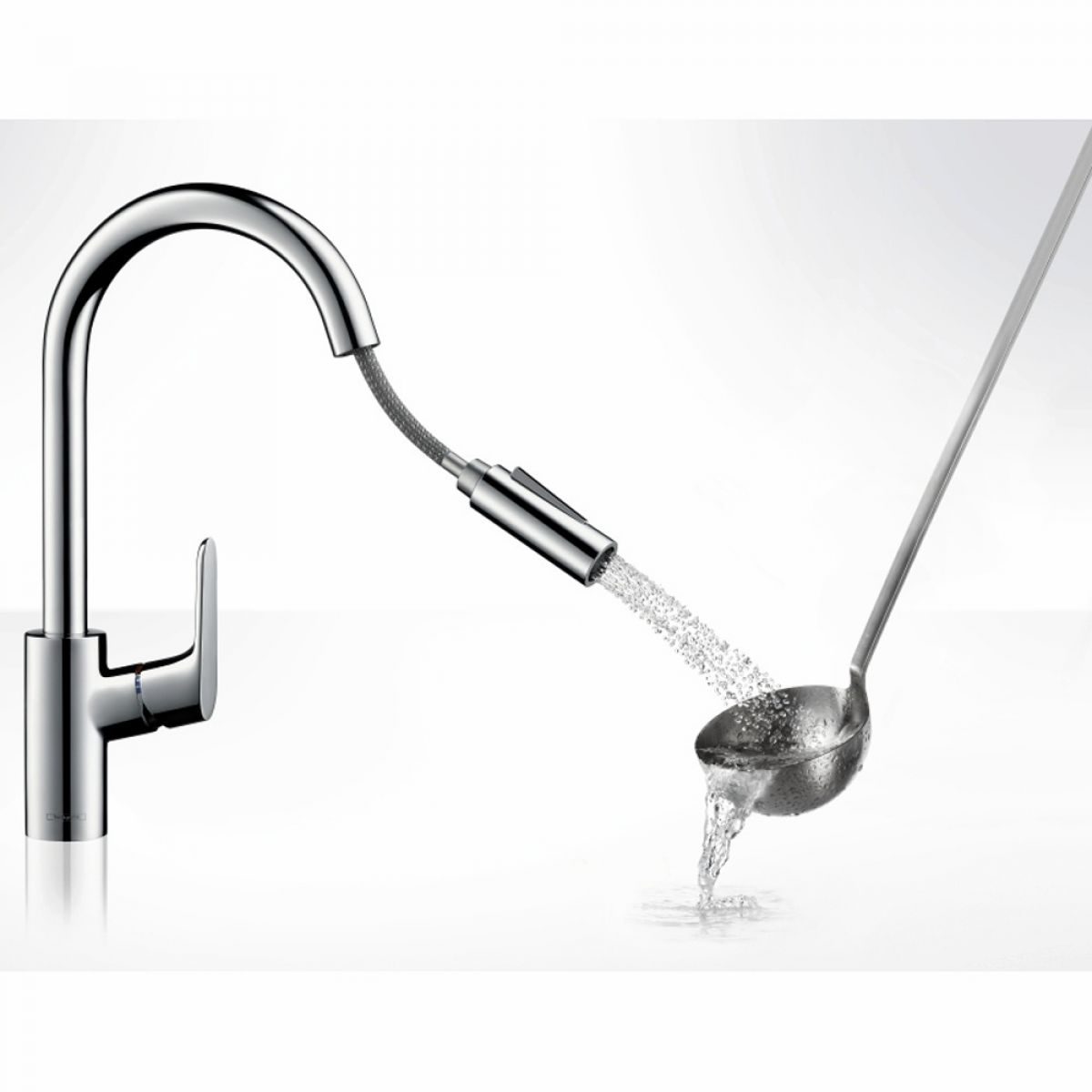 hansgrohe focus single lever kitchen mixer 240 with pull. Black Bedroom Furniture Sets. Home Design Ideas