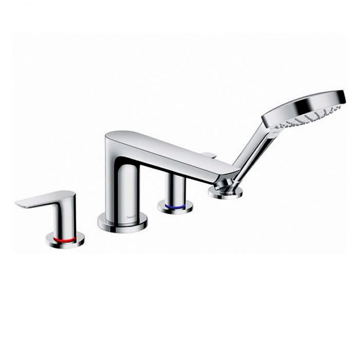 hansgrohe talis e 4 hole rim mounted bath mixer with. Black Bedroom Furniture Sets. Home Design Ideas