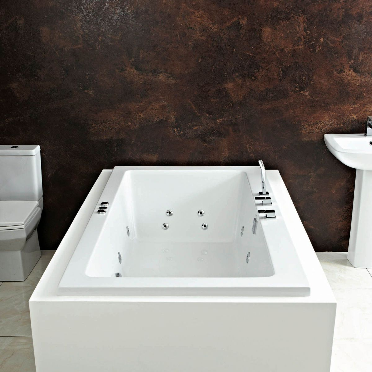 Phoenix Rectangularo Double Ended Whirlpool Bath : UK Bathrooms