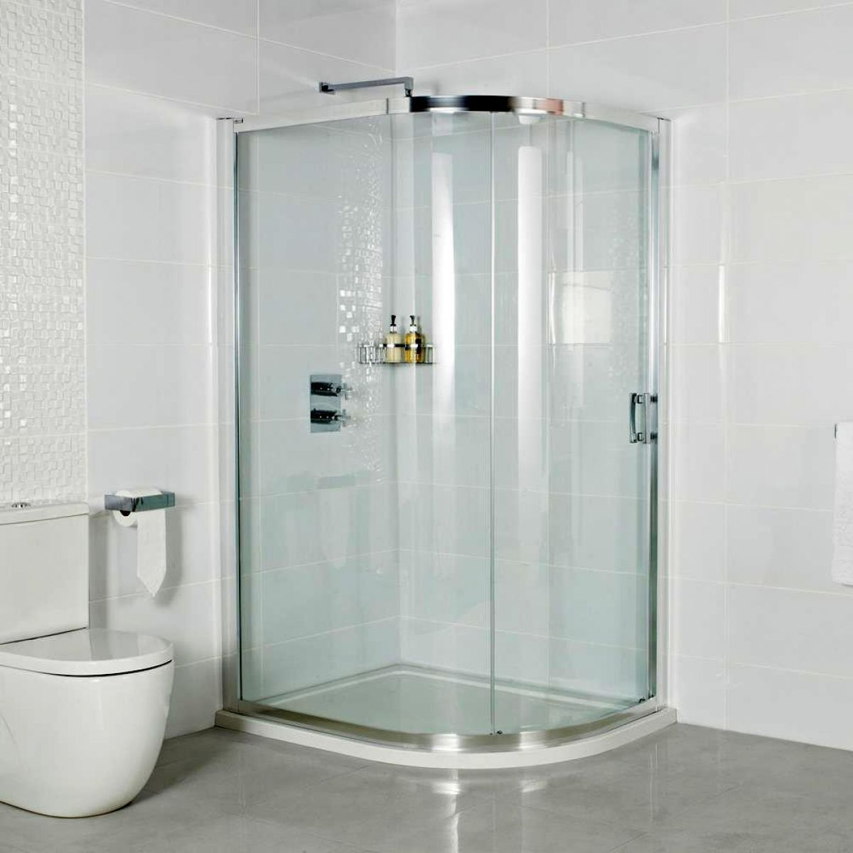 Roman embrace single door offset quadrant shower enclosure for Door quadrant