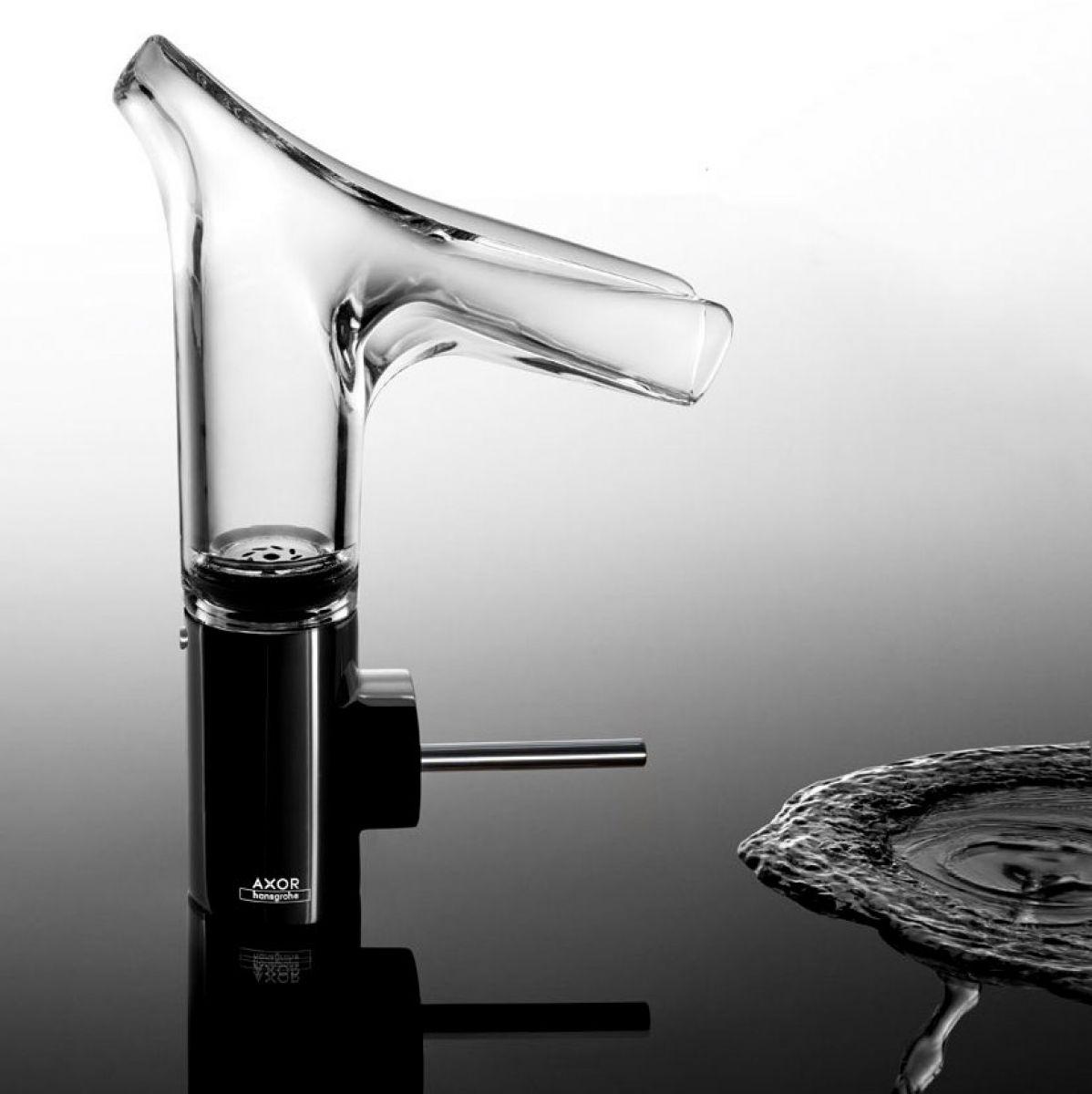 axor starck v glass spout basin mixer 140 uk bathrooms. Black Bedroom Furniture Sets. Home Design Ideas