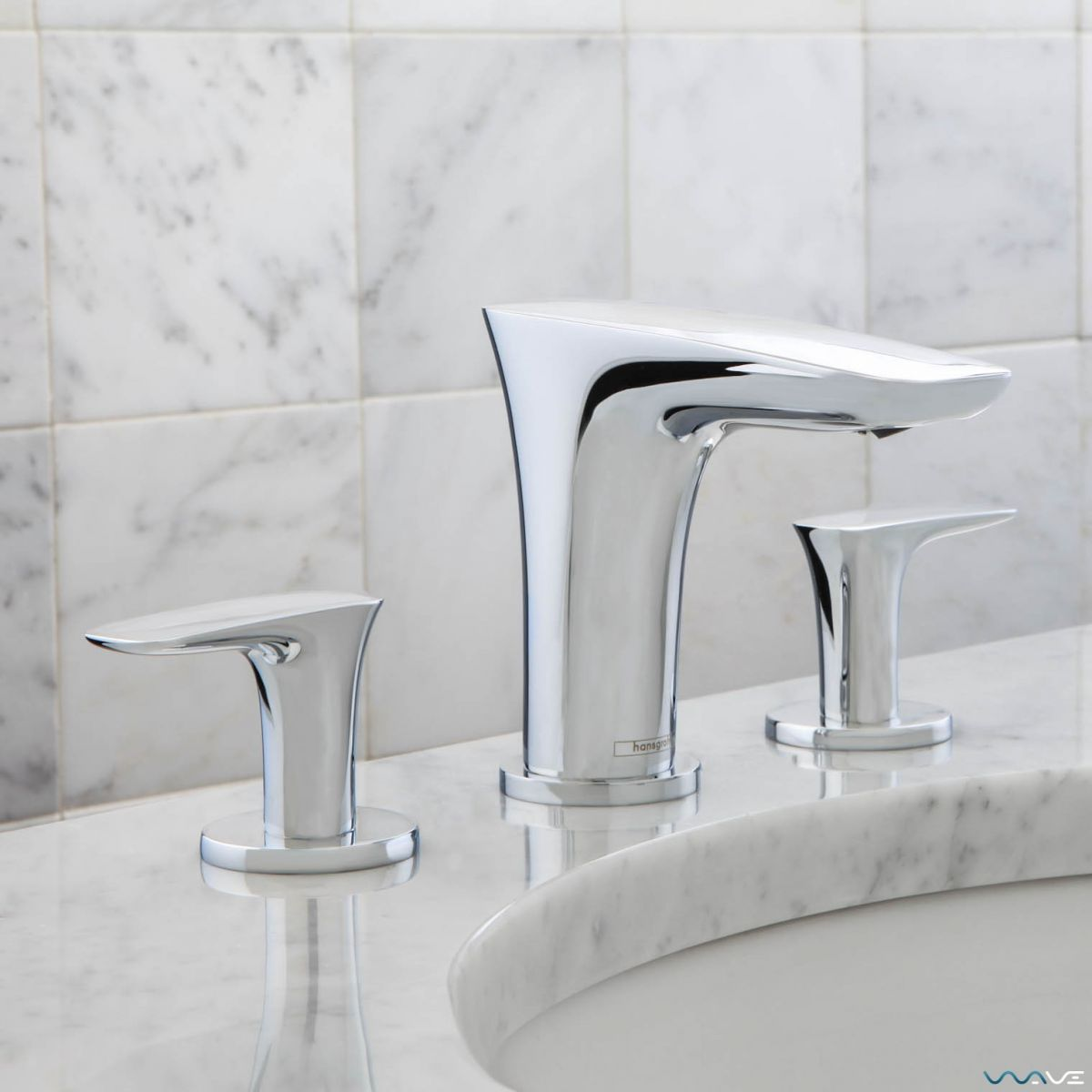 Hansgrohe puravida 3 hole basin mixer tap uk bathrooms for Hansgrohe puravida