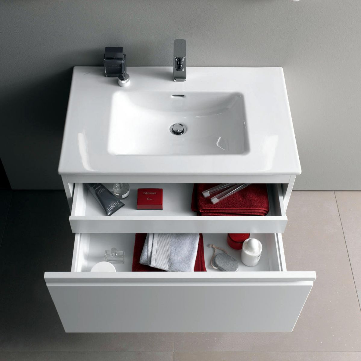 laufen pro s single drawer vanity unit slim basin uk bathrooms. Black Bedroom Furniture Sets. Home Design Ideas