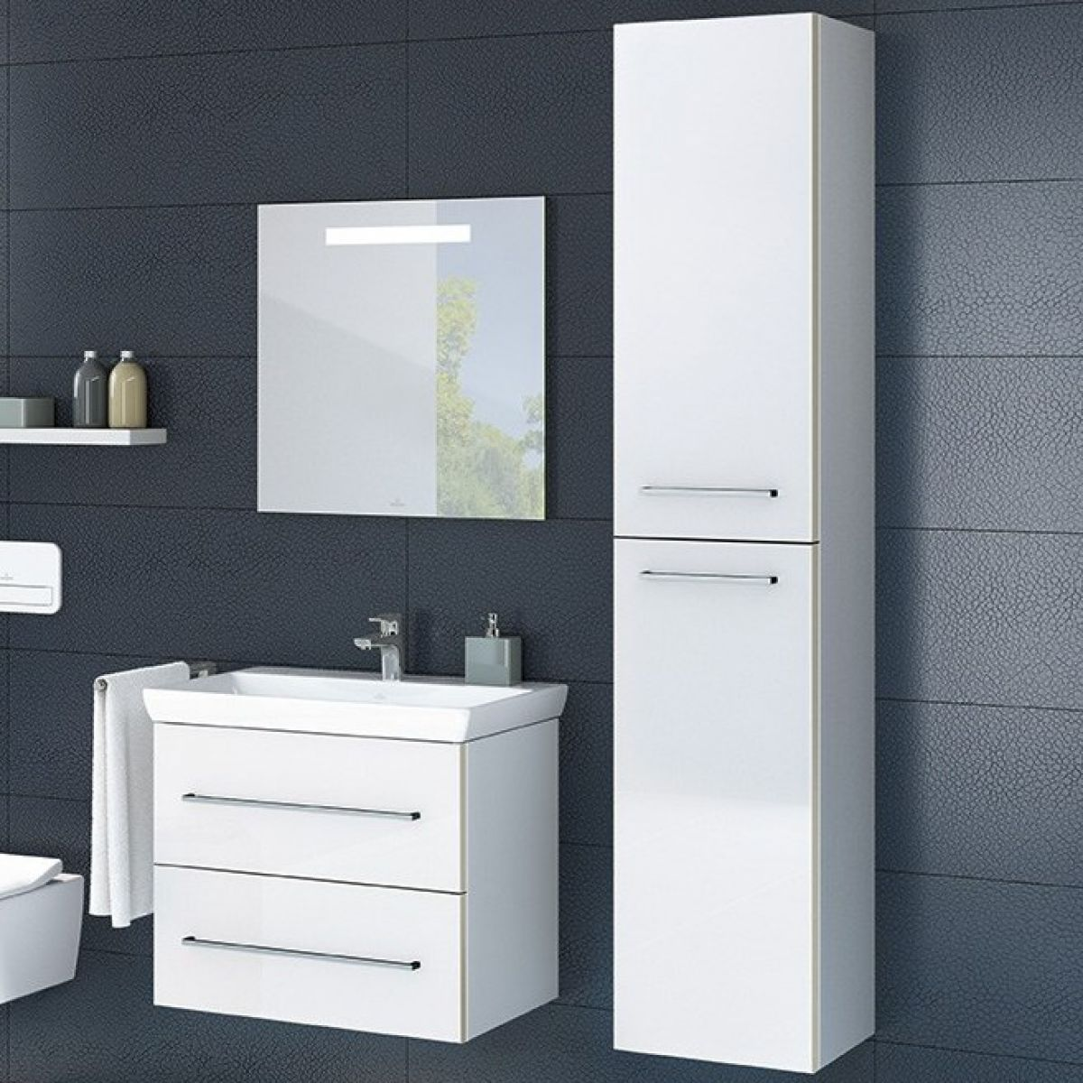 villeroy boch avento tall cabinet uk bathrooms. Black Bedroom Furniture Sets. Home Design Ideas