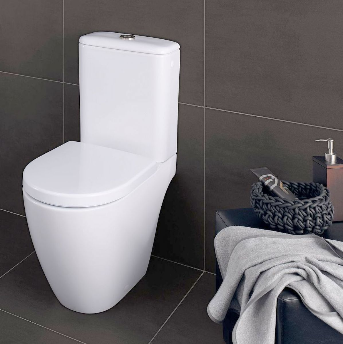 Geberit icon close coupled toilet uk bathrooms for Gerberit toilet