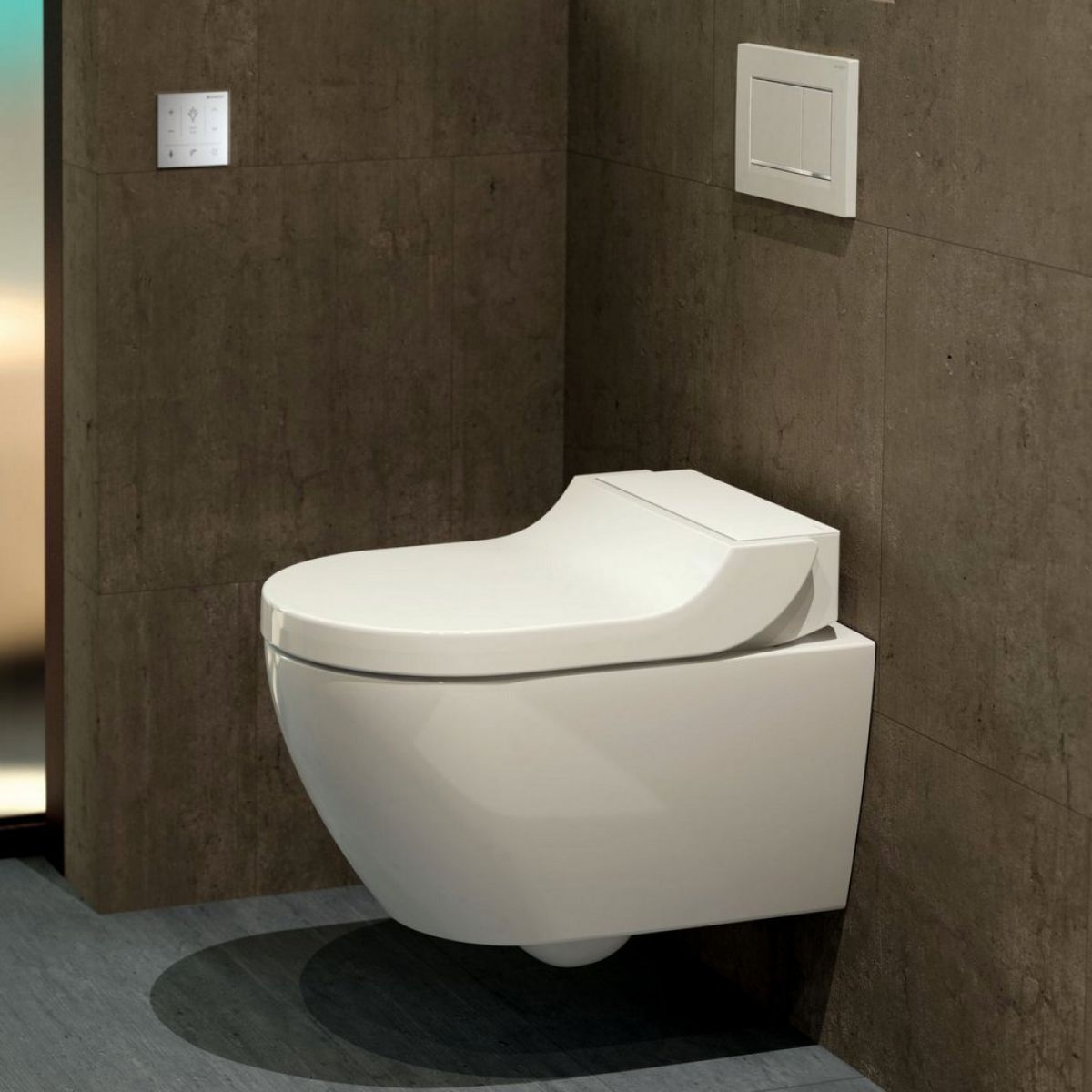 geberit aquaclean tuma rimless wall hung shower toilet uk bathrooms. Black Bedroom Furniture Sets. Home Design Ideas