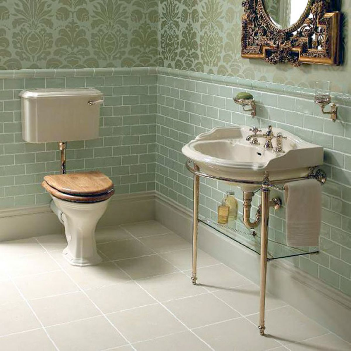 Imperial antique crackle ceramic dado tiles 130 x 50mm for Bathroom ideas edwardian