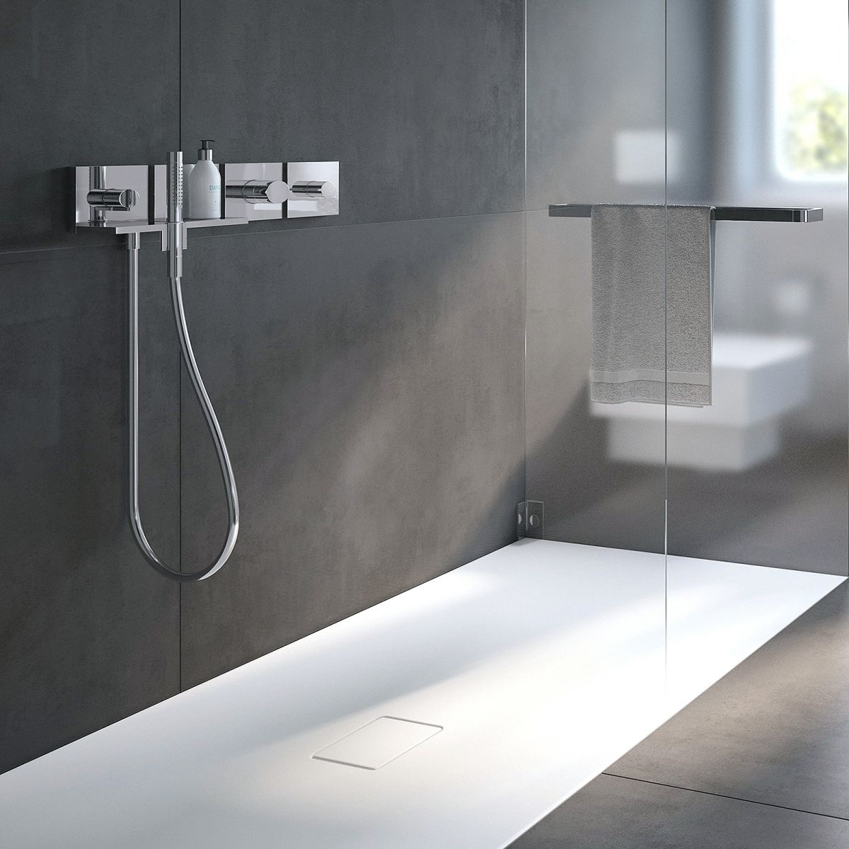Conoflat shower tray 2 way shower mixer