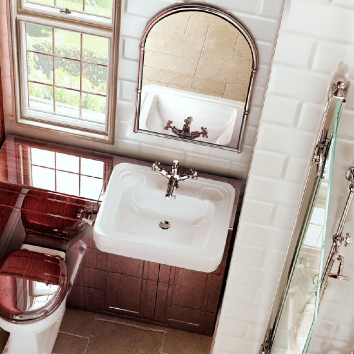 Burlington Victorian Semi recessed Basin : UK Bathrooms