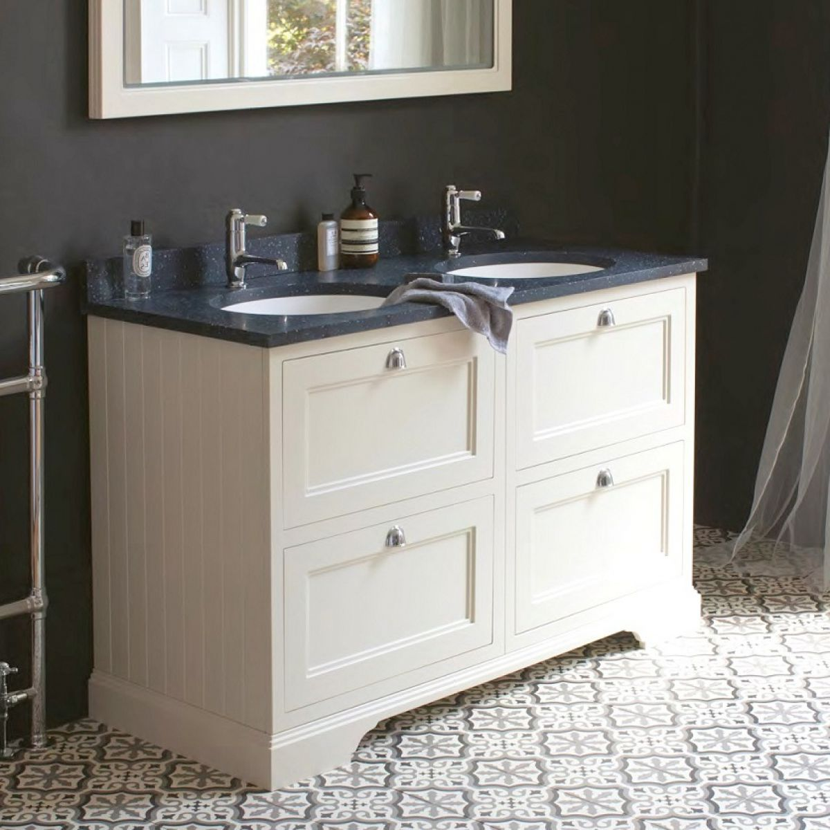 Burlington 130 Double Vanity Unit With Four Drawers Uk