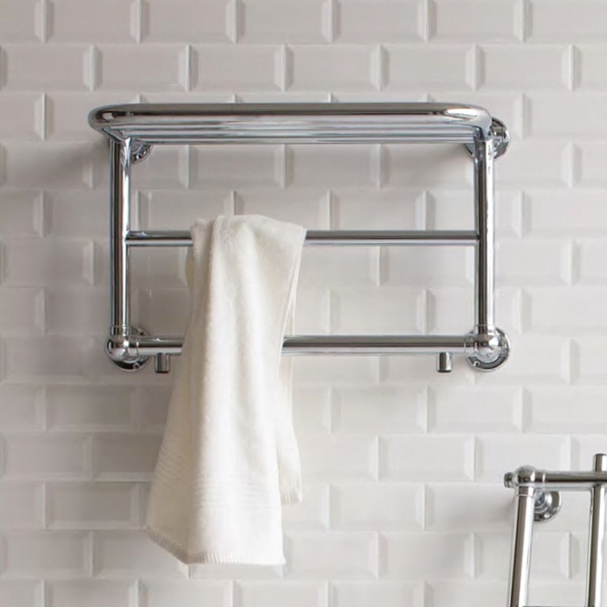 Burlington Strand Bathroom Towel Radiator With Shelf Uk Bathrooms