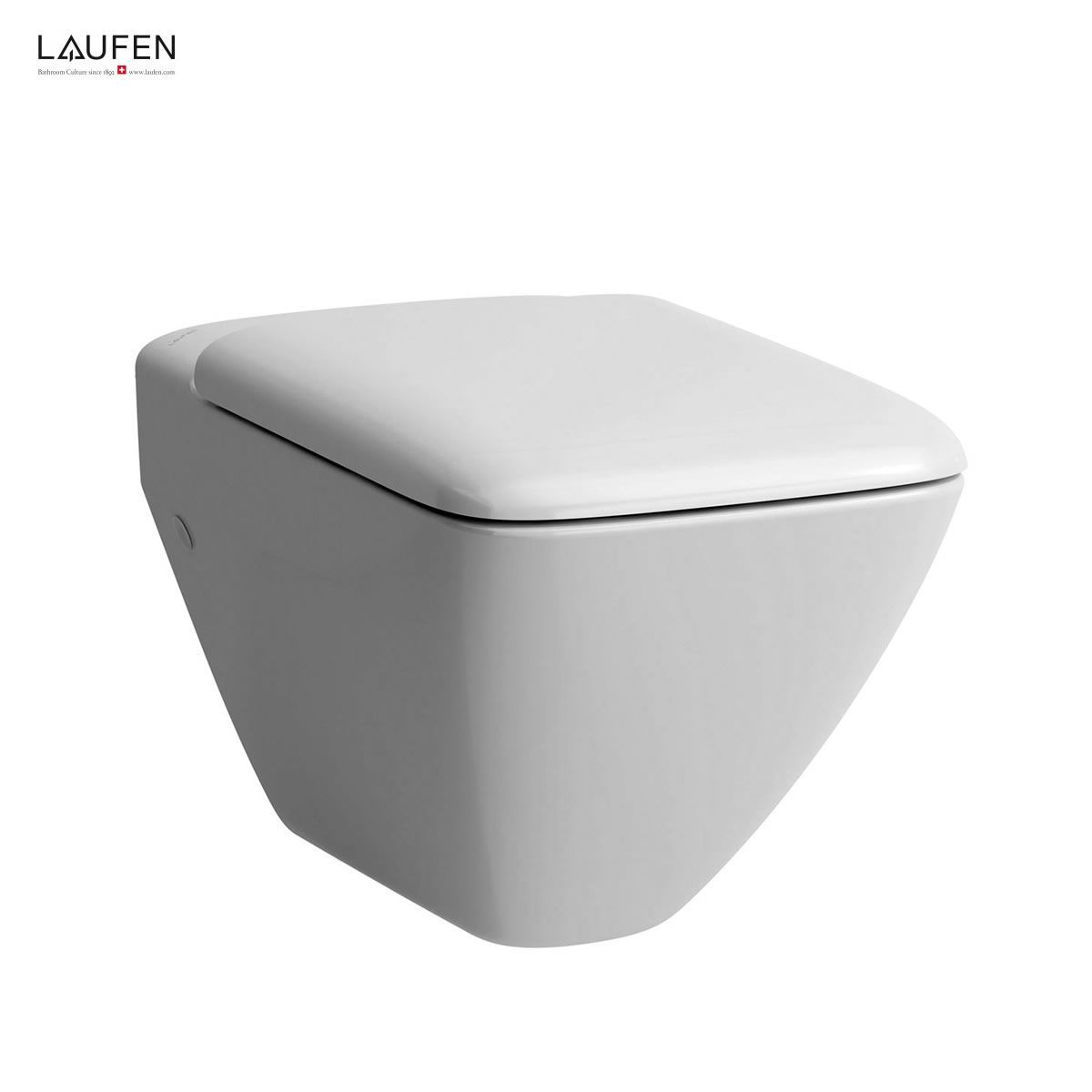 black square toilet seat.  Laufen Palace Wall Hung Toilet UK Bathrooms